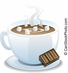Hot Cocoa - Illustration of a cup of hot cocoa with...