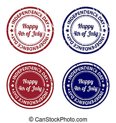 Independence day rubber stamps - Set of independence day...