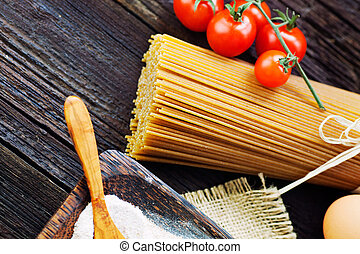 Pasta ingredients - Italian cooking with whole wheat pasta...