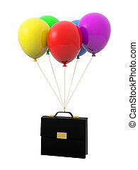 balloon - A brief box being tied by the rope of the balloons...