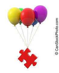 balloon - A puzzle being tied by the rope of the balloons