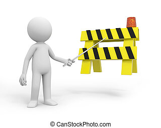 roadblocks - A 3d person pointing at the roadblocks with a...