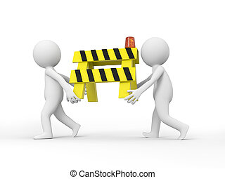 roadblocks - Two 3d people carrying the roadblocks