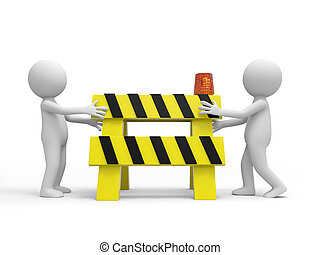 roadblocks - Two 3d people carrying the...