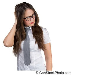 Thinking business woman standing