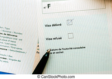 Visa application approved - Visa approved marked with pen on...