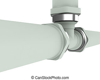 Gas pipe without valve isolated on white