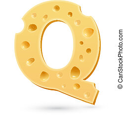 Q cheese letter. Symbol isolated on white.