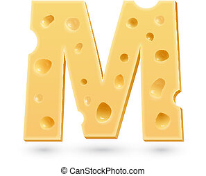 M cheese letter. Symbol isolated on white.