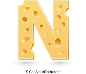 N cheese letter. Symbol isolated on white.