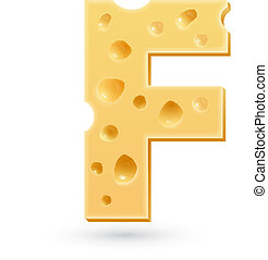 F cheese letter. Symbol isolated on white.