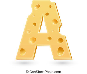 A cheese letter. Symbol isolated on white.