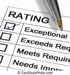 "Rating - ""Exceptional\"" rating marked with pen. Could be..."