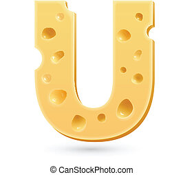 U cheese letter. Symbol isolated on white.