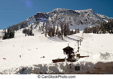 Ski Lift Snow Skiing Slopes North Cascades Summit Snoqualmie...
