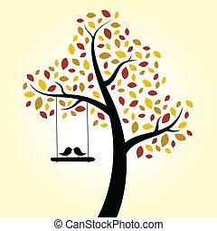 autunno, Amore, Uccelli, albero