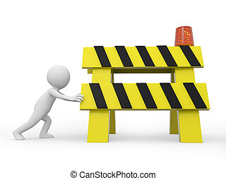 roadblocks - A 3d people pushing the roadblocks/ push