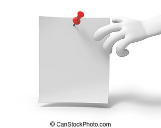 notepaper - A 3d hand reaching for the note