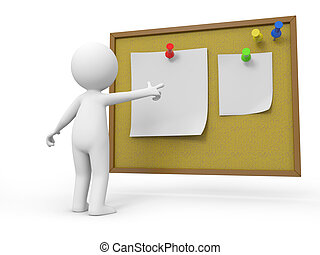 notepaper - A 3d people pointing at the notes with his...
