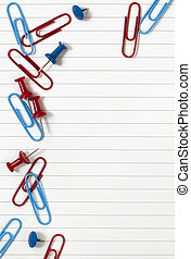 Notepaper with Paperclip and Pushpins
