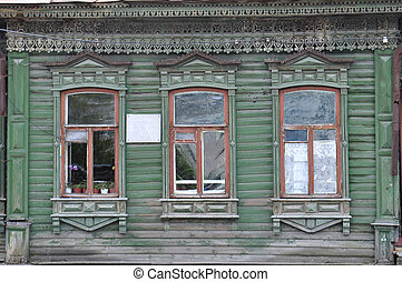 Windows of the house of the merchant S. S. Brovtsyn on...