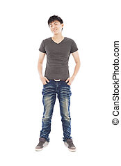 full of confidence young man standing on a white background