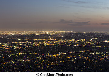 Los Angeles Dusk - Mountaintop view of Pasadena and Los...