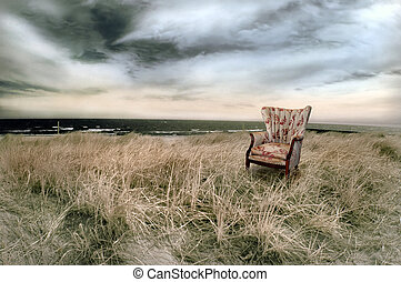 Beach with Wingback Chair