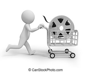 film - A 3d people running with a shopping cart in hand