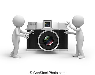camera - Two 3d people talking, a camera background