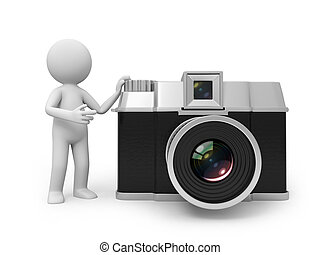 camera - A 3d people standing besides a camera