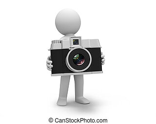 camera - A 3d people holding a camera,standing