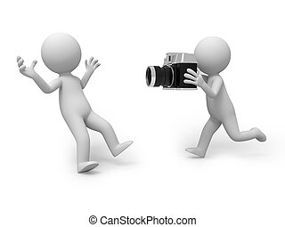 camera - A 3d people surprised by another with a camera in...