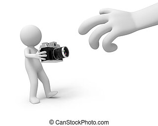 camera - A 3d people with a camera in hand/ 3d hand