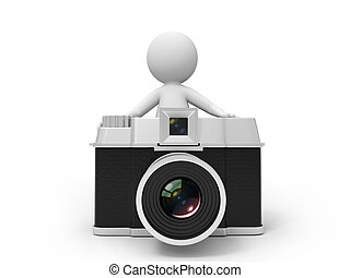 camera - A 3d people standing behind the camera