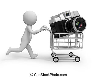 camera - A 3d people pushing a cart,/a camera on the cart