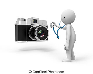 camera - A 3d people watching the camera with a stetheoscope