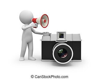 camera - A 3d people talking with a speaker/camera