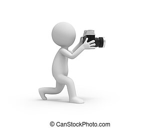 camera - A 3d people taking a picture with a camera
