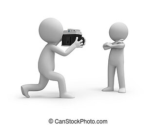 camera - A 3d people taking a picture of another one