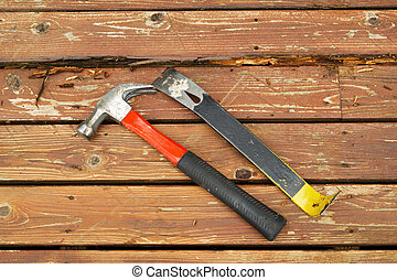 Hand tools for fixing old Deck - Horizontal photo of old...