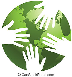 A globe with hands around it, in vector format
