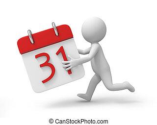 calendar - A 3d person running with a calendar in hand