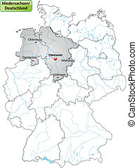 Map of Lower Saxony with main cities in gray
