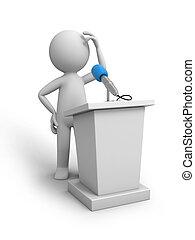 Speak stage - A 3d people talking behind the speak stage