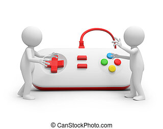 gamepad - Two 3d people talking, a gamepad background