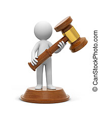 gavel - A 3d people carrying a gavel, standing