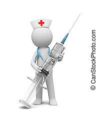 syringe - A 3d white nurse / syringe/ stethoscope/ nurse cap