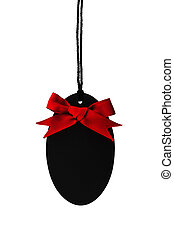 Black empty price label with red ribbon bow.