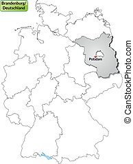 Map of Brandenburg with main cities in gray